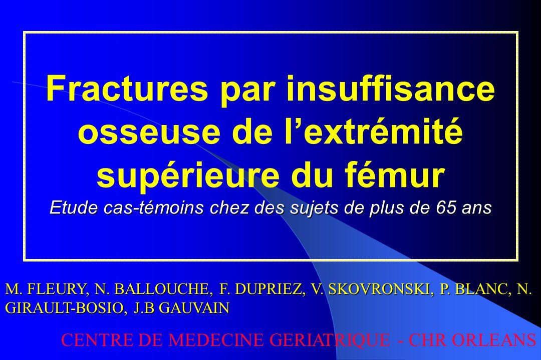 Fractures de l'extrémité supérieure du fémur 55 000 nouvelles fractures par an en France => mortalité élevée => perte d'autonomie => entrée en institution 90 % résultent d'une chute sur un os ostéoporotique