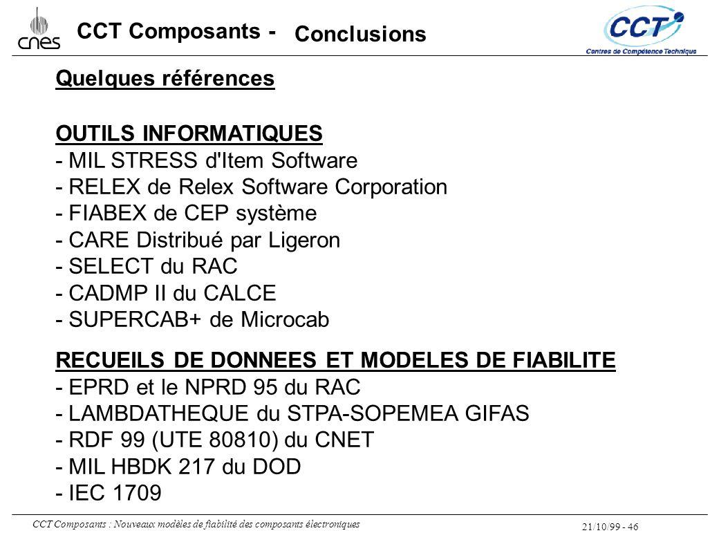 21/10/99 - 46 CCT Composants : Nouveaux modèles de fiabilité des composants électroniques CCT Composants - Quelques références OUTILS INFORMATIQUES -