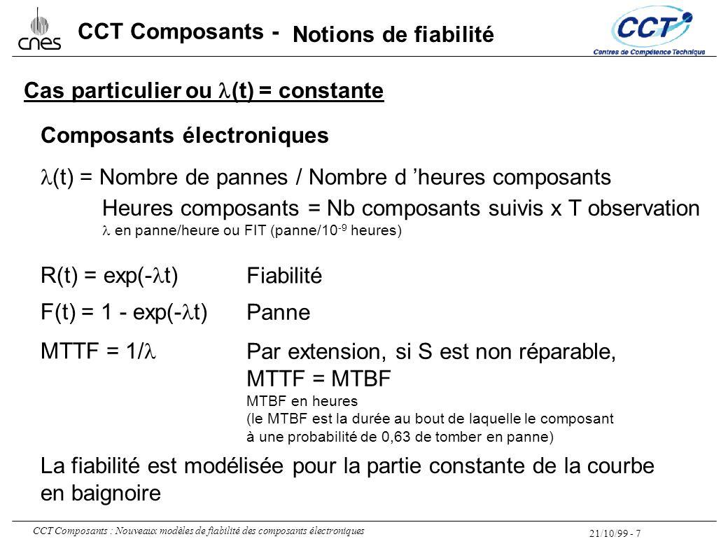 21/10/99 - 7 CCT Composants : Nouveaux modèles de fiabilité des composants électroniques CCT Composants - Cas particulier ou  (t) = constante (t) = N