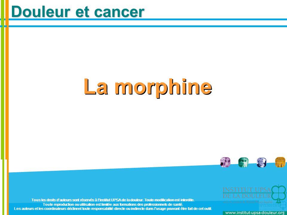Bithérapie morphinique Conforme aux recommandations d'experts : OMS, EACP, SOR La douleur cancéreuse à un stade avancé est très souvent instable Douleur de fond plus ou moins permanente Pics douloureux  prévisibles (soins)  imprévisibles (évolution de la maladie) Le patient cancéreux doit pouvoir gérer sa douleur Morphine LP à horaires fixes Morphine LI à la demande  10% de la dose quotidienne de morphine LP à chaque prise  à partir de 4 prises par jour, il est nécessaire d'augmenter la dose de morphine LP