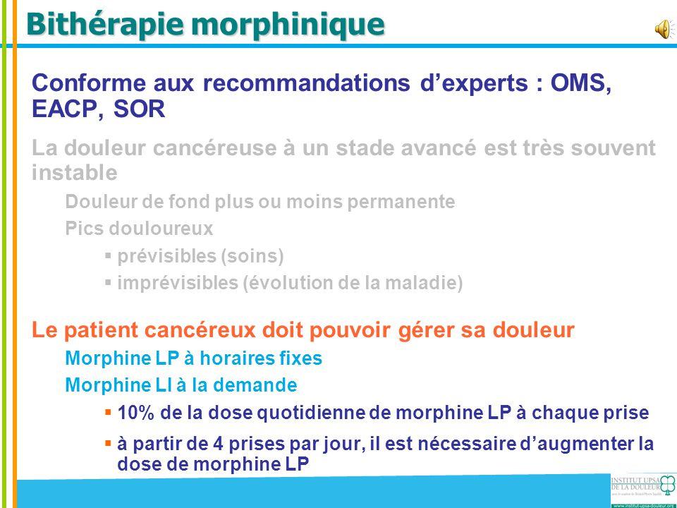 Bithérapie morphinique Conforme aux recommandations d'experts : OMS, EACP, SOR La douleur cancéreuse à un stade avancé est très souvent instable Doule