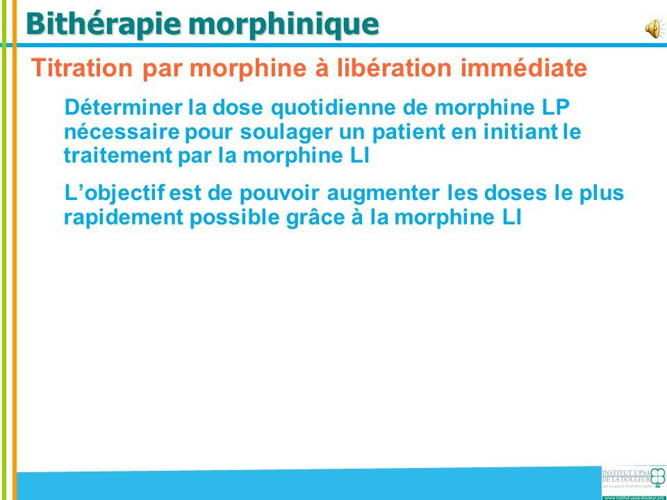 Bithérapie morphinique Titration par morphine à libération immédiate Déterminer la dose quotidienne de morphine LP nécessaire pour soulager un patient
