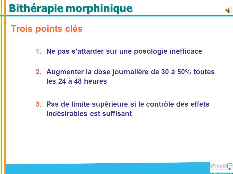 Bithérapie morphinique Trois points clés 1.Ne pas s'attarder sur une posologie inefficace 2.Augmenter la dose journalière de 30 à 50% toutes les 24 à