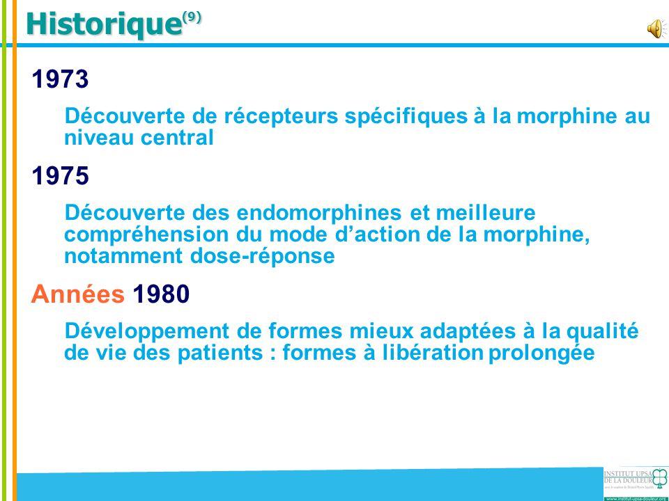Historique (9) 1973 Découverte de récepteurs spécifiques à la morphine au niveau central 1975 Découverte des endomorphines et meilleure compréhension
