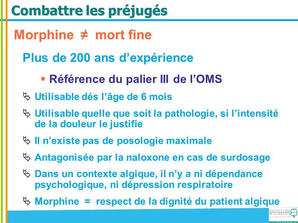 Combattre les préjugés Morphine ≠ mort fine Plus de 200 ans d'expérience  Référence du palier III de l'OMS  Utilisable dés l'âge de 6 mois  Utilisa