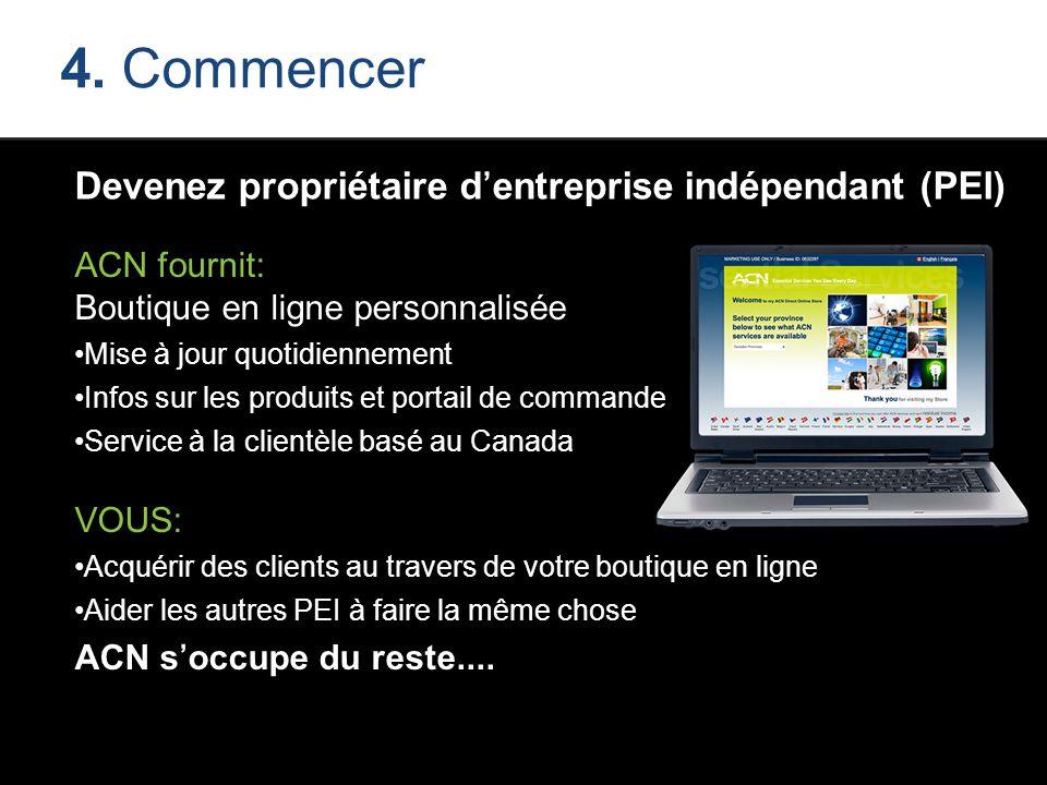 4. Commencer Devenez propriétaire d'entreprise indépendant (PEI) ACN fournit: Boutique en ligne personnalisée Mise à jour quotidiennement Infos sur le