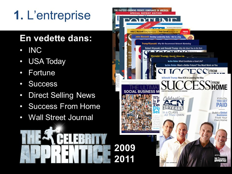 1. L'entreprise En vedette dans: INC USA Today Fortune Success Direct Selling News Success From Home Wall Street Journal 2009 2011