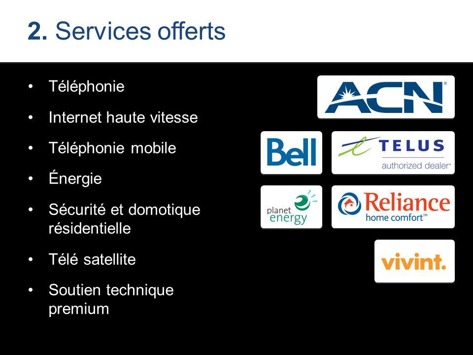 2. Services offerts Téléphonie Internet haute vitesse Téléphonie mobile Énergie Sécurité et domotique résidentielle Télé satellite Soutien technique p