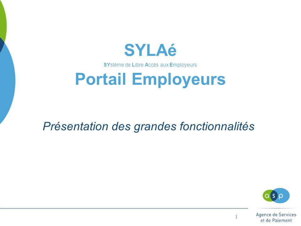 1 SYLAé SYstème de Libre Accès aux Employeurs Portail Employeurs Présentation des grandes fonctionnalités
