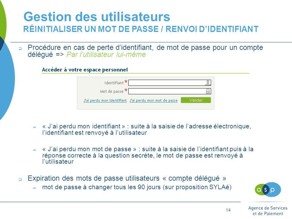 14 Gestion des utilisateurs RÉINITIALISER UN MOT DE PASSE / RENVOI D'IDENTIFIANT  Procédure en cas de perte d'identifiant, de mot de passe pour un compte délégué => Par l'utilisateur lui-même  « J'ai perdu mon identifiant » : suite à la saisie de l'adresse électronique, l'identifiant est renvoyé à l'utilisateur  « J'ai perdu mon mot de passe » : suite à la saisie de l'identifiant puis à la réponse correcte à la question secrète, le mot de passe est renvoyé à l'utilisateur  Expiration des mots de passe utilisateurs « compte délégué »  mot de passe à changer tous les 90 jours (sur proposition SYLAé)
