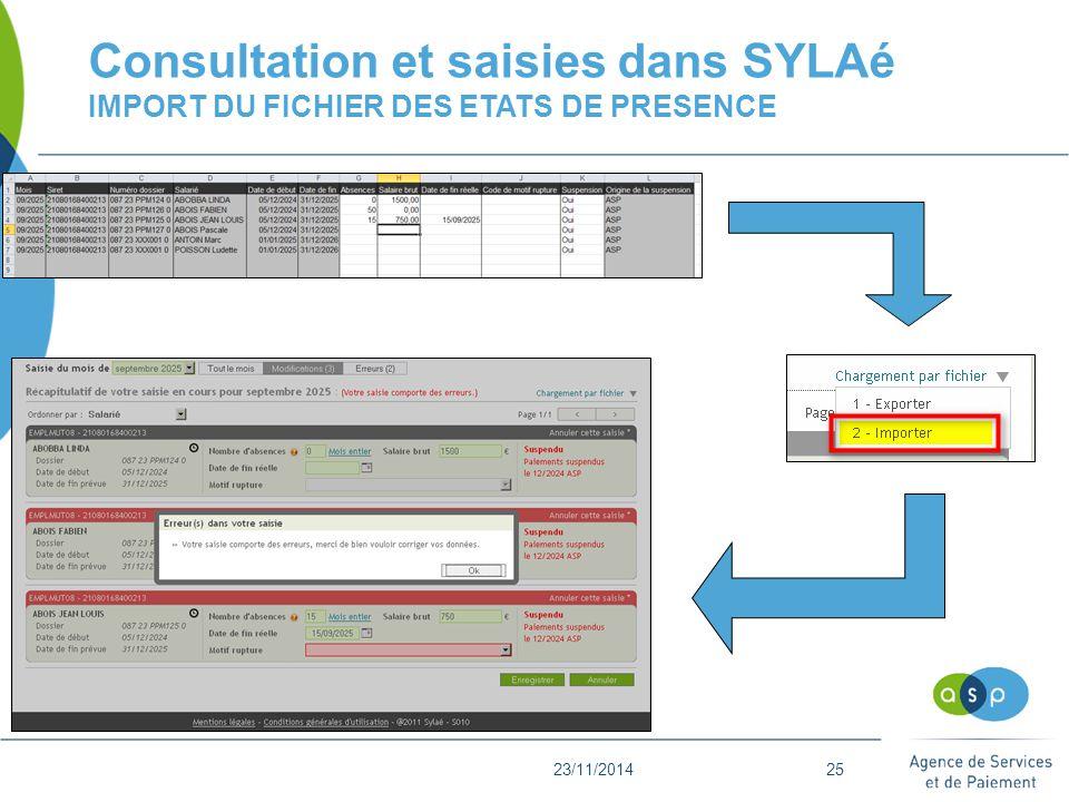 23/11/201425 Consultation et saisies dans SYLAé IMPORT DU FICHIER DES ETATS DE PRESENCE