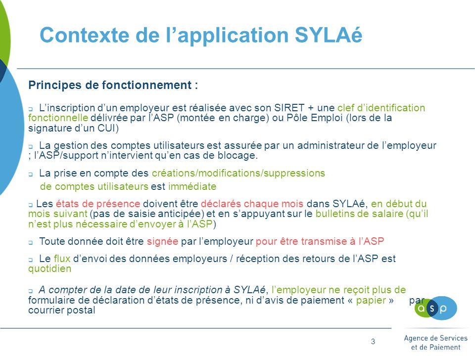 3 Contexte de l'application SYLAé Principes de fonctionnement :  L'inscription d'un employeur est réalisée avec son SIRET + une clef d'identification fonctionnelle délivrée par l'ASP (montée en charge) ou Pôle Emploi (lors de la signature d'un CUI)  La gestion des comptes utilisateurs est assurée par un administrateur de l'employeur ; l'ASP/support n'intervient qu'en cas de blocage.
