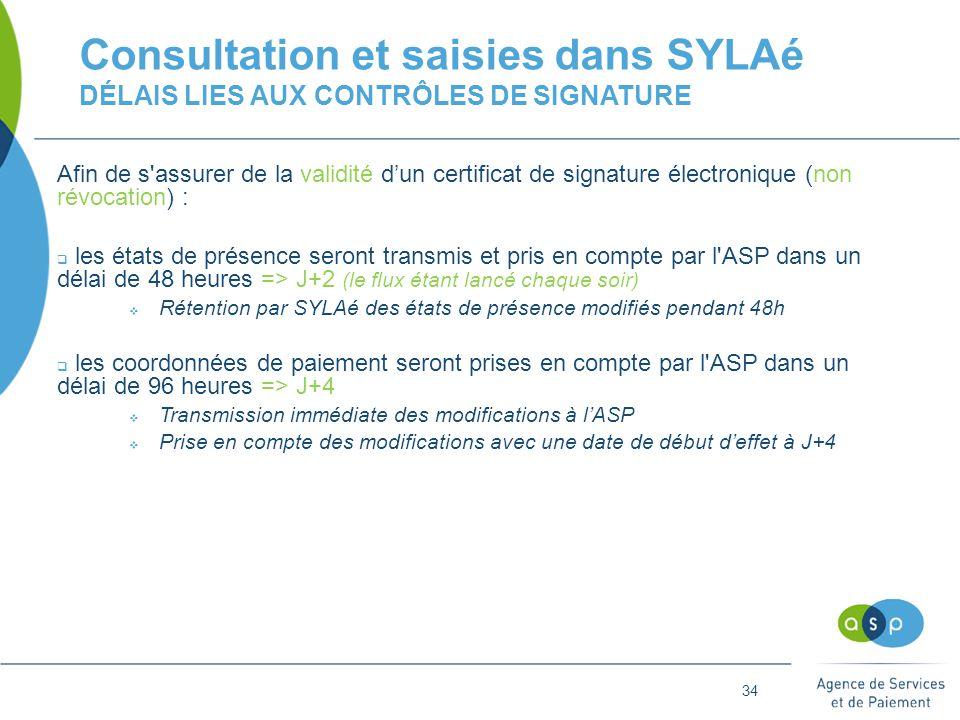 34 Consultation et saisies dans SYLAé DÉLAIS LIES AUX CONTRÔLES DE SIGNATURE Afin de s assurer de la validité d'un certificat de signature électronique (non révocation) :  les états de présence seront transmis et pris en compte par l ASP dans un délai de 48 heures => J+2 (le flux étant lancé chaque soir)  Rétention par SYLAé des états de présence modifiés pendant 48h  les coordonnées de paiement seront prises en compte par l ASP dans un délai de 96 heures => J+4  Transmission immédiate des modifications à l'ASP  Prise en compte des modifications avec une date de début d'effet à J+4