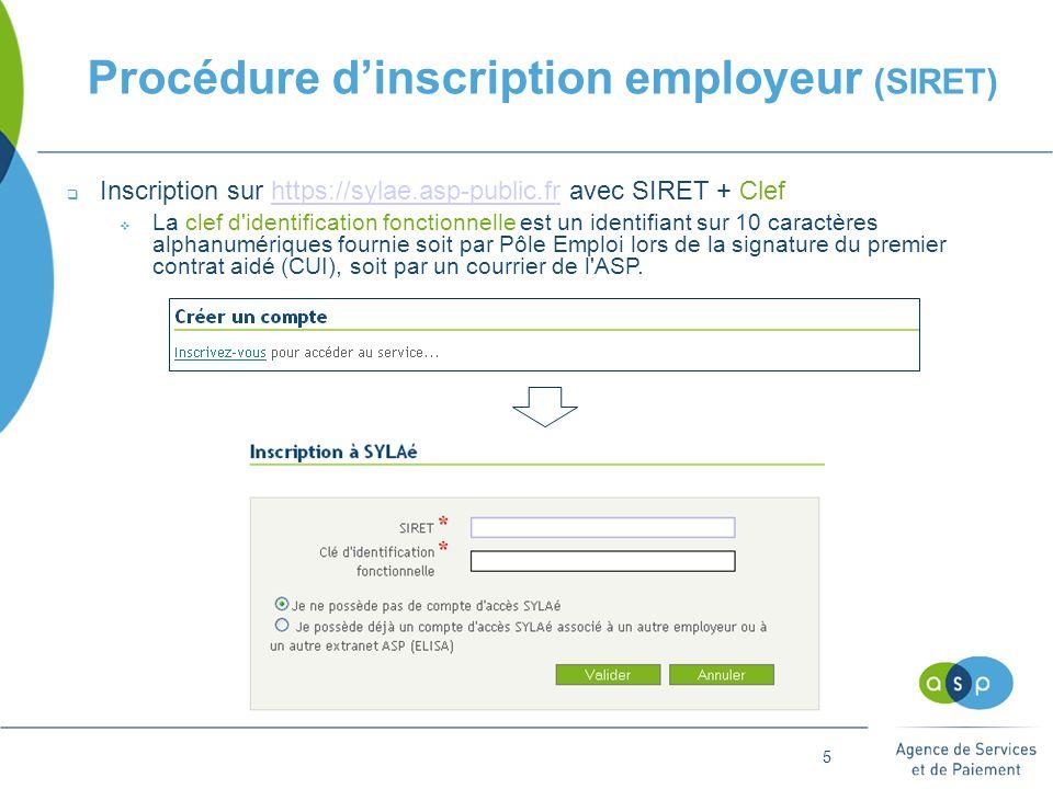 5 Procédure d'inscription employeur (SIRET)  Inscription sur https://sylae.asp-public.fr avec SIRET + Clefhttps://sylae.asp-public.fr  La clef d identification fonctionnelle est un identifiant sur 10 caractères alphanumériques fournie soit par Pôle Emploi lors de la signature du premier contrat aidé (CUI), soit par un courrier de l ASP.