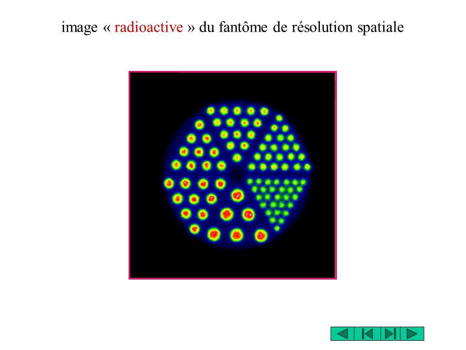 image « radioactive » du fantôme de résolution spatiale