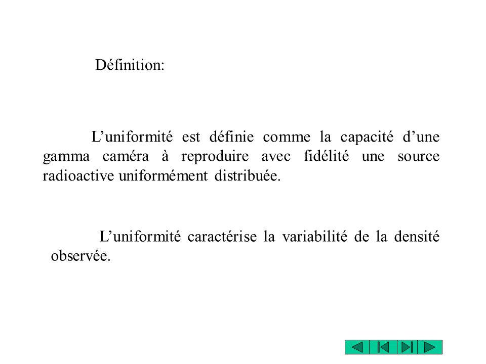 Définition: L'uniformité est définie comme la capacité d'une gamma caméra à reproduire avec fidélité une source radioactive uniformément distribuée. L