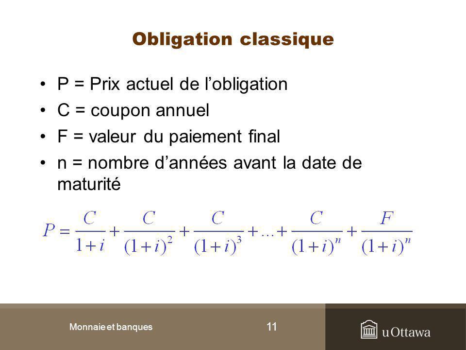 11 Obligation classique P = Prix actuel de l'obligation C = coupon annuel F = valeur du paiement final n = nombre d'années avant la date de maturité M