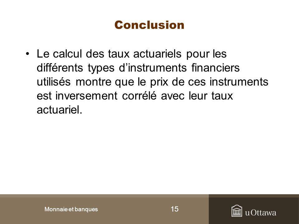 15 Conclusion Le calcul des taux actuariels pour les différents types d'instruments financiers utilisés montre que le prix de ces instruments est inve