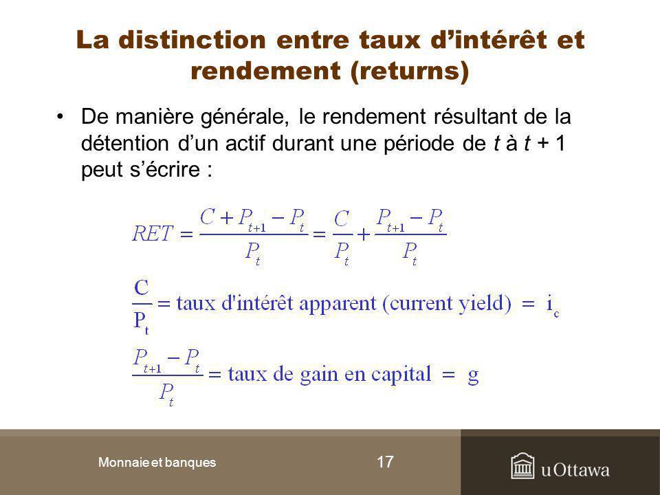 17 La distinction entre taux d'intérêt et rendement (returns) De manière générale, le rendement résultant de la détention d'un actif durant une périod
