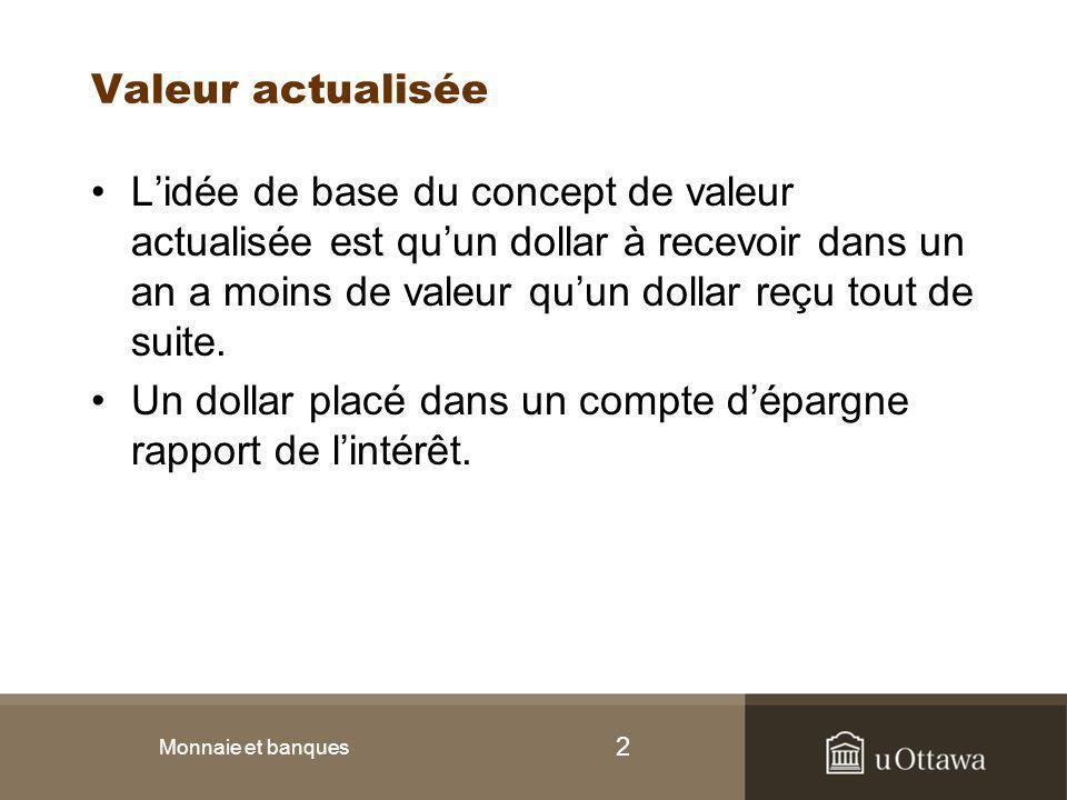 2 Valeur actualisée L'idée de base du concept de valeur actualisée est qu'un dollar à recevoir dans un an a moins de valeur qu'un dollar reçu tout de