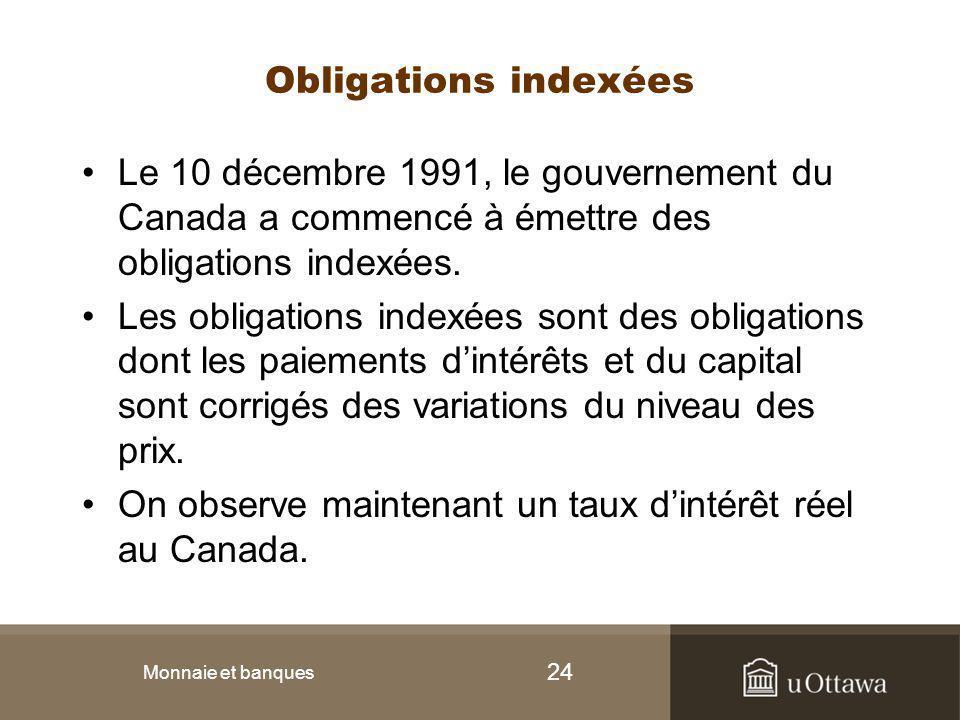 24 Obligations indexées Le 10 décembre 1991, le gouvernement du Canada a commencé à émettre des obligations indexées. Les obligations indexées sont de
