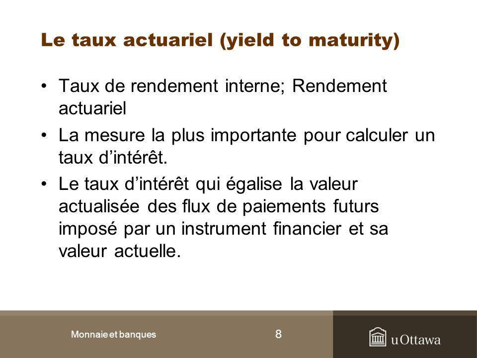 9 Prêt simple VP = valeur du prêt = 100$ FM = flux monétaire à l'année 1= 110$ n = nombre d'années jusqu'à la date de maturité = 1 Monnaie et banques