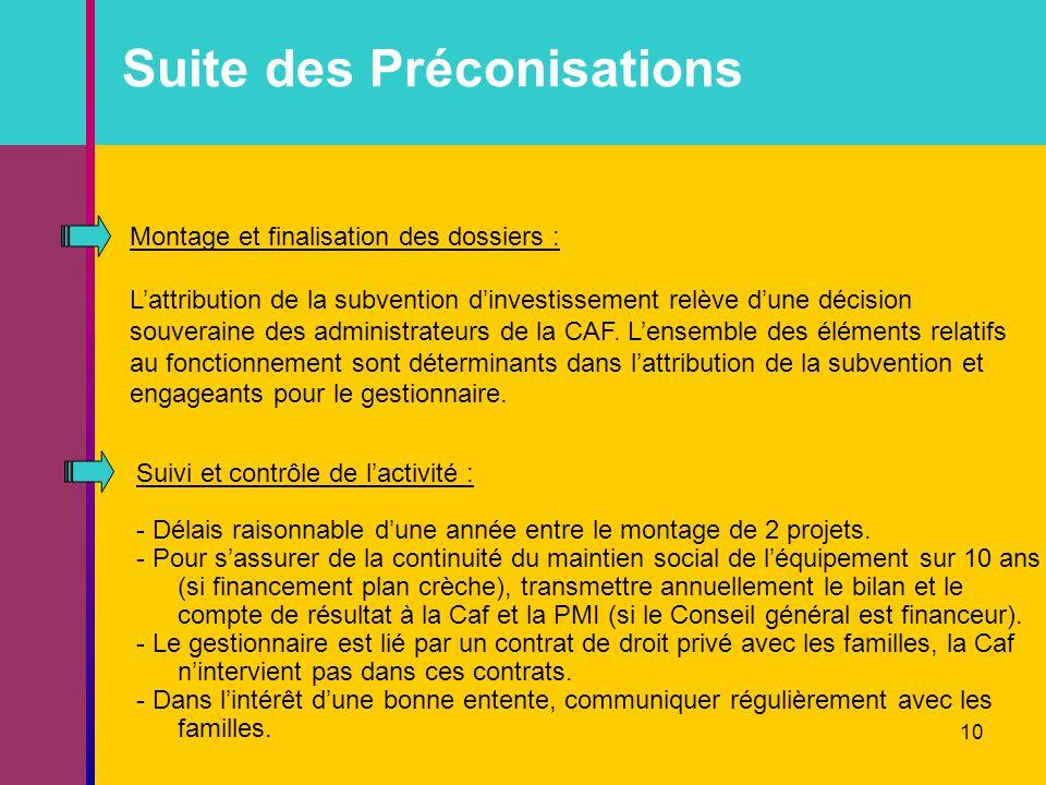 10 Suite des Préconisations Montage et finalisation des dossiers : L'attribution de la subvention d'investissement relève d'une décision souveraine des administrateurs de la CAF.