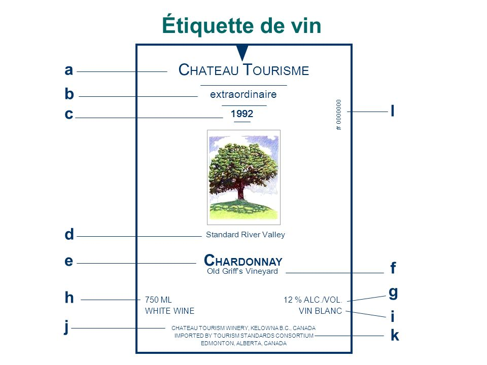 C HATEAU T OURISME extraordinaire 1992 Standard River Valley C HARDONNAY Old Griff's Vineyard 750 ML WHITE WINE 12 % ALC./VOL. VIN BLANC CHATEAU TOURI