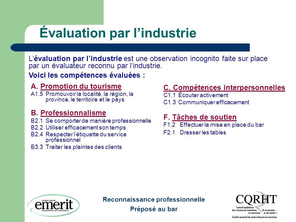 Reconnaissance professionnelle Préposé au bar Évaluation par l'industrie (suite) G.