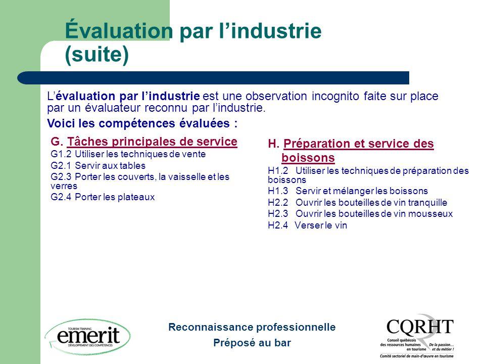 Reconnaissance professionnelle Préposé au bar Évaluation par l'industrie (suite) G. Tâches principales de service G1.2 Utiliser les techniques de vent