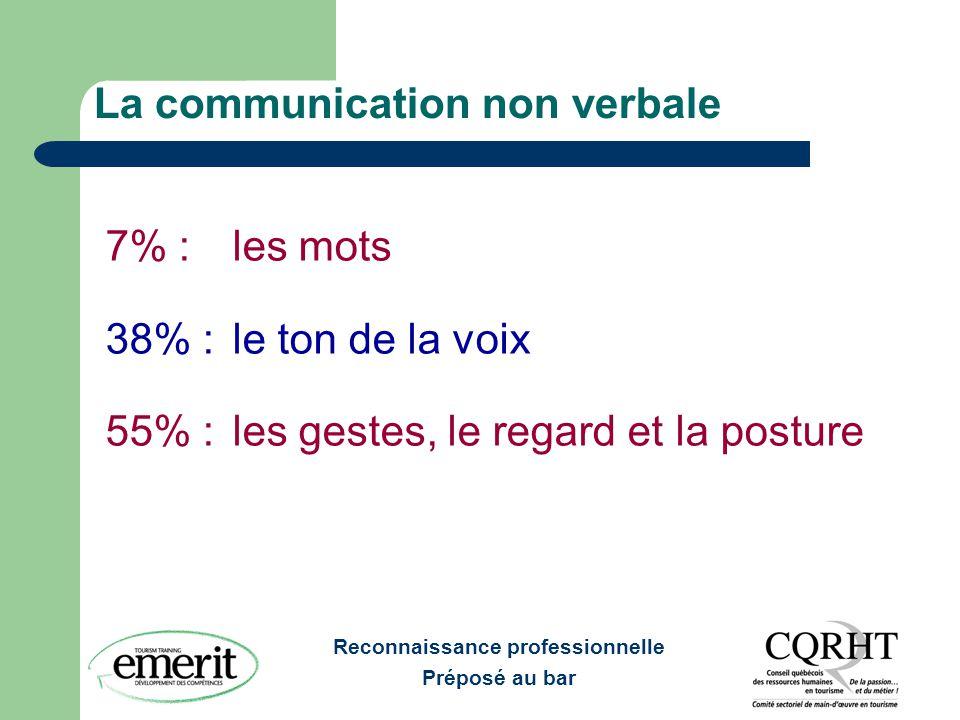 Reconnaissance professionnelle Préposé au bar La communication non verbale 7% : les mots 38% : le ton de la voix 55% : les gestes, le regard et la pos