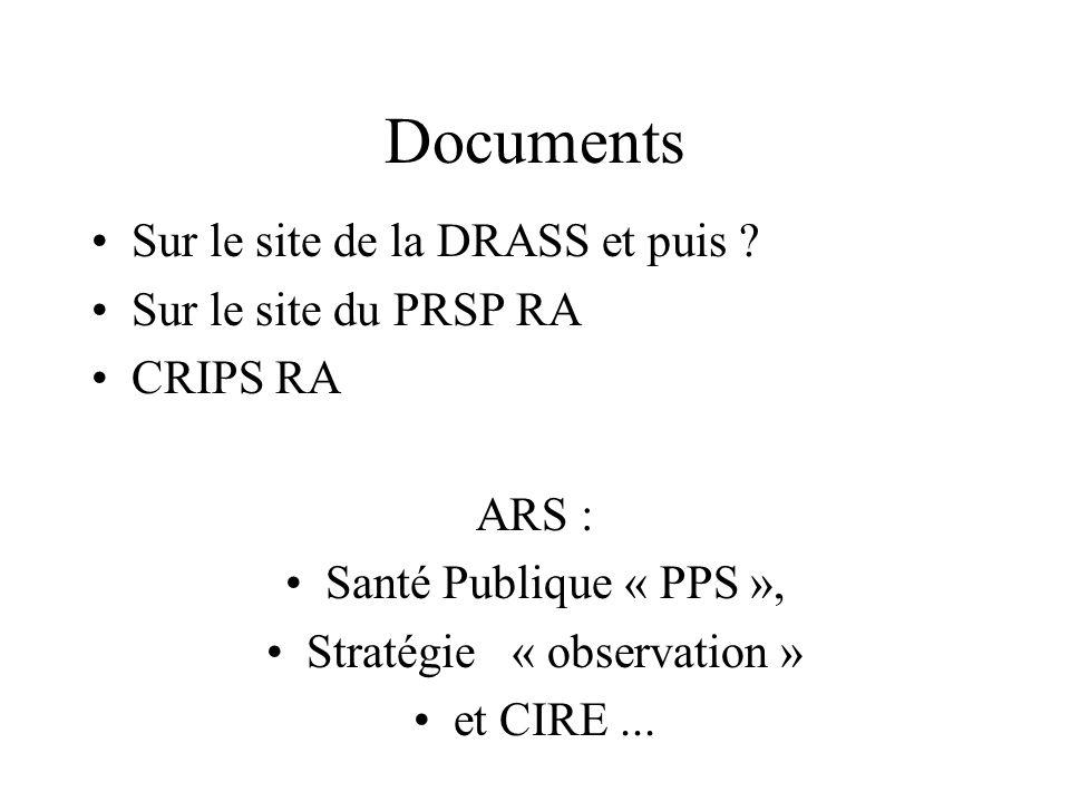 Documents Sur le site de la DRASS et puis ? Sur le site du PRSP RA CRIPS RA ARS : Santé Publique « PPS », Stratégie « observation » et CIRE...
