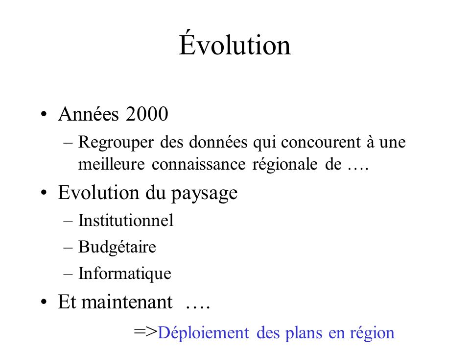 Évolution Années 2000 –Regrouper des données qui concourent à une meilleure connaissance régionale de …. Evolution du paysage –Institutionnel –Budgéta