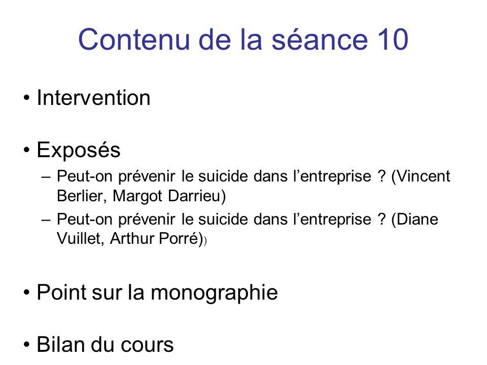 Intervention Exposés –Peut-on prévenir le suicide dans l'entreprise .