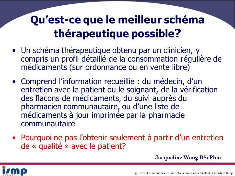 © Institut pour l'utilisation sécuritaire des médicaments du Canada 2008 ® Qu'est-ce que le meilleur schéma thérapeutique possible .
