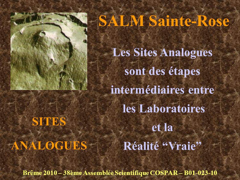 SALM Sainte-Rose Brême 2010 – 38ème Assemblée Scientifique COSPAR – B01-023-10 Les Sites Analogues sont des étapes intermédiaires entre les Laboratoires et la Réalité Vraie SITES ANALOGUES