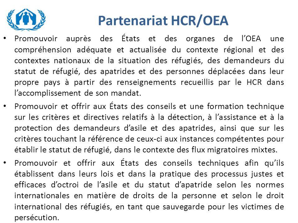 Partenariat HCR/OEA Promouvoir auprès des États et des organes de l'OEA une compréhension adéquate et actualisée du contexte régional et des contextes nationaux de la situation des réfugiés, des demandeurs du statut de réfugié, des apatrides et des personnes déplacées dans leur propre pays à partir des renseignements recueillis par le HCR dans l'accomplissement de son mandat.