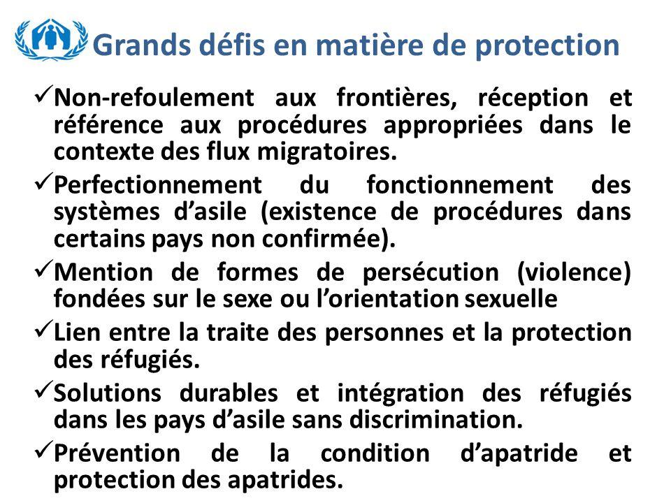 Grands défis en matière de protection Non-refoulement aux frontières, réception et référence aux procédures appropriées dans le contexte des flux migratoires.