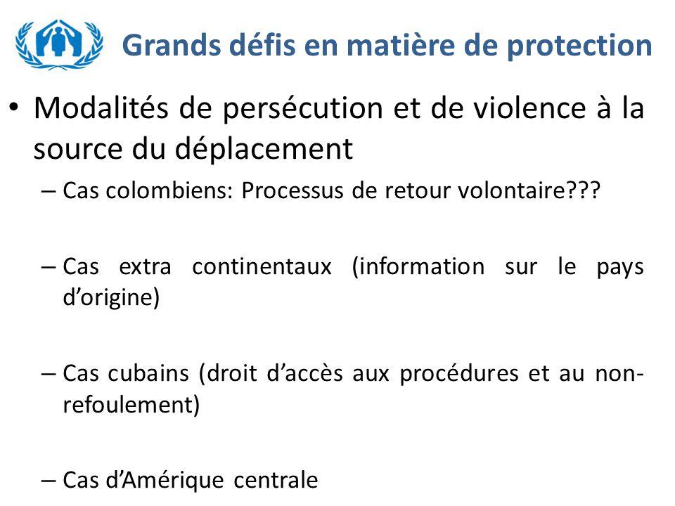 Grands défis en matière de protection Modalités de persécution et de violence à la source du déplacement – Cas colombiens: Processus de retour volontaire .