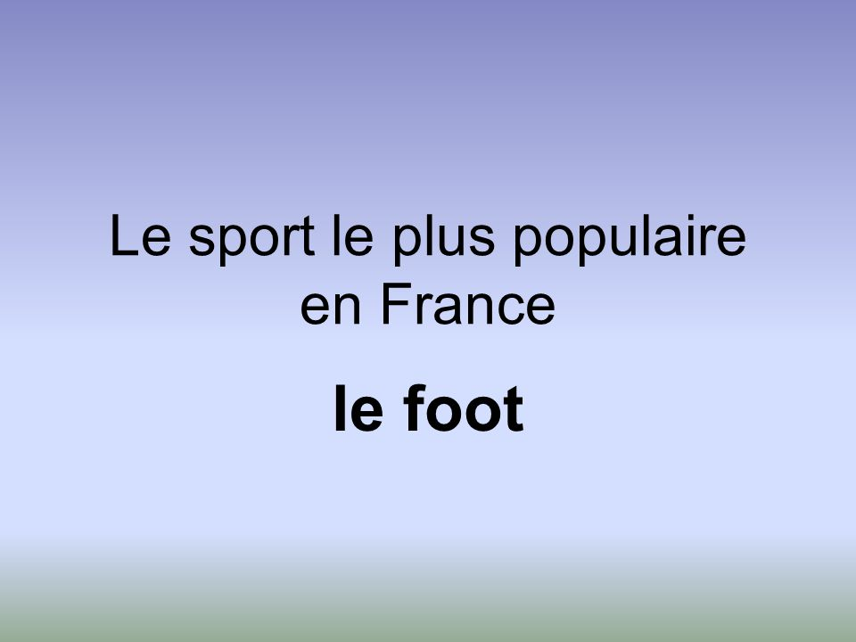 Le sport le plus populaire en France le foot