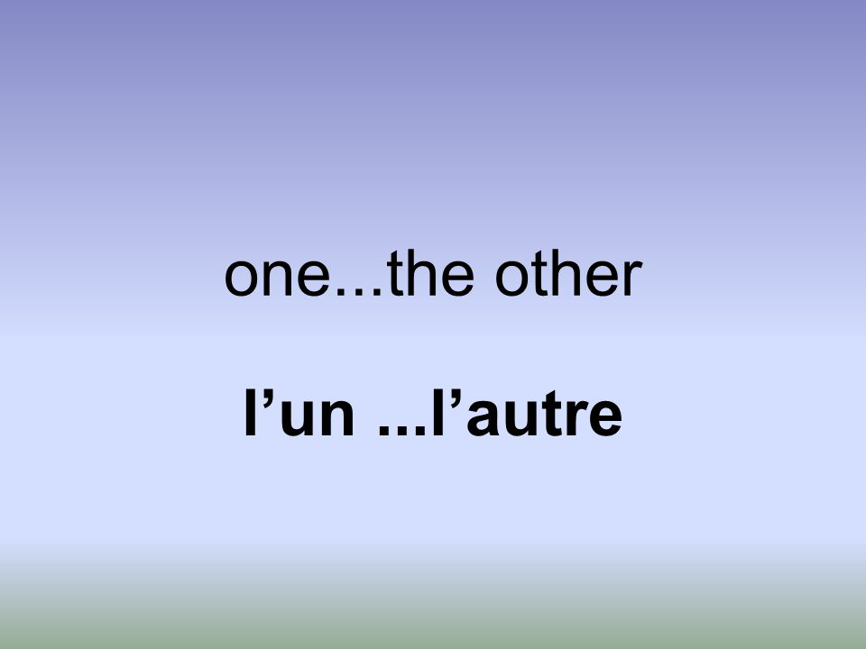 one...the other l'un...l'autre
