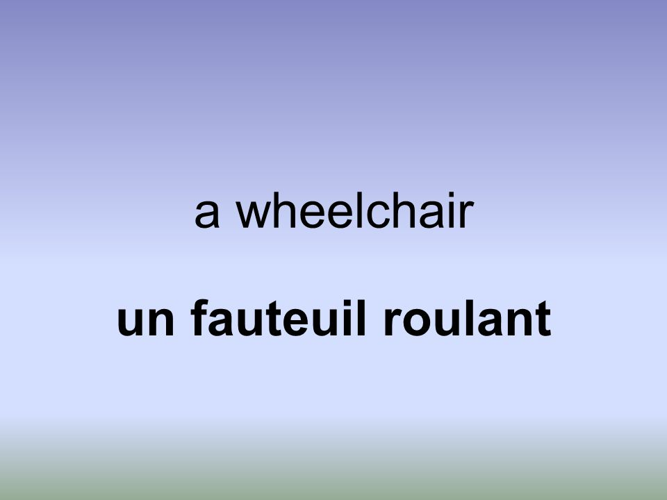 a wheelchair un fauteuil roulant