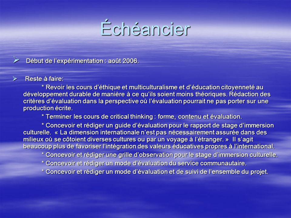Échéancier  Début de l'expérimentation : août 2006.