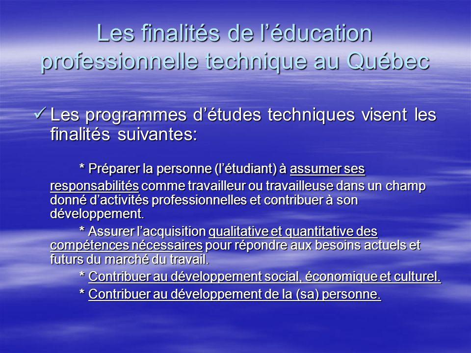 Les finalités de l'éducation professionnelle technique au Québec Les programmes d'études techniques visent les finalités suivantes: Les programmes d'études techniques visent les finalités suivantes: * Préparer la personne (l'étudiant) à assumer ses responsabilités comme travailleur ou travailleuse dans un champ donné d'activités professionnelles et contribuer à son développement.