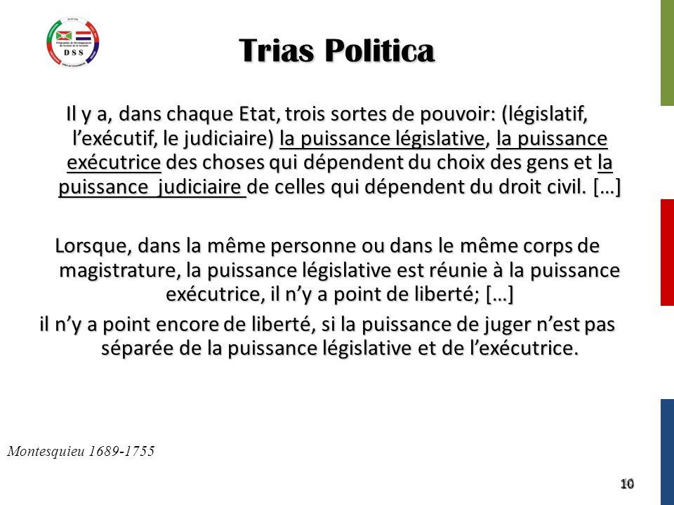 10 Trias Politica Il y a, dans chaque Etat, trois sortes de pouvoir: (législatif, l'exécutif, le judiciaire) la puissance législative, la puissance exécutrice des choses qui dépendent du choix des gens et la puissance judiciaire de celles qui dépendent du droit civil.