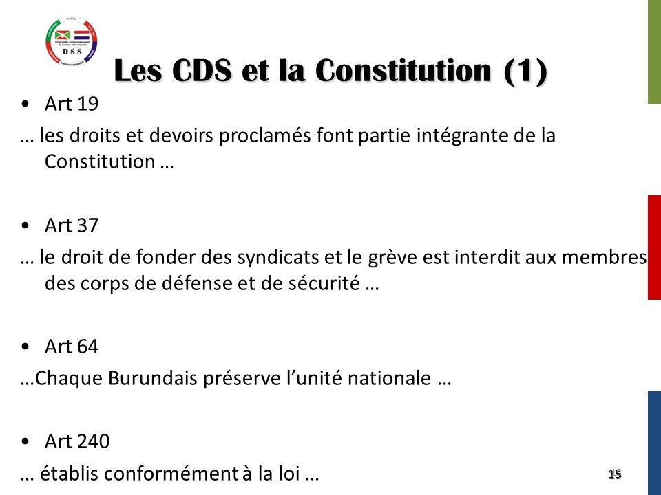 15 Les CDS et la Constitution (1) Art 19 … les droits et devoirs proclamés font partie intégrante de la Constitution … Art 37 … le droit de fonder des