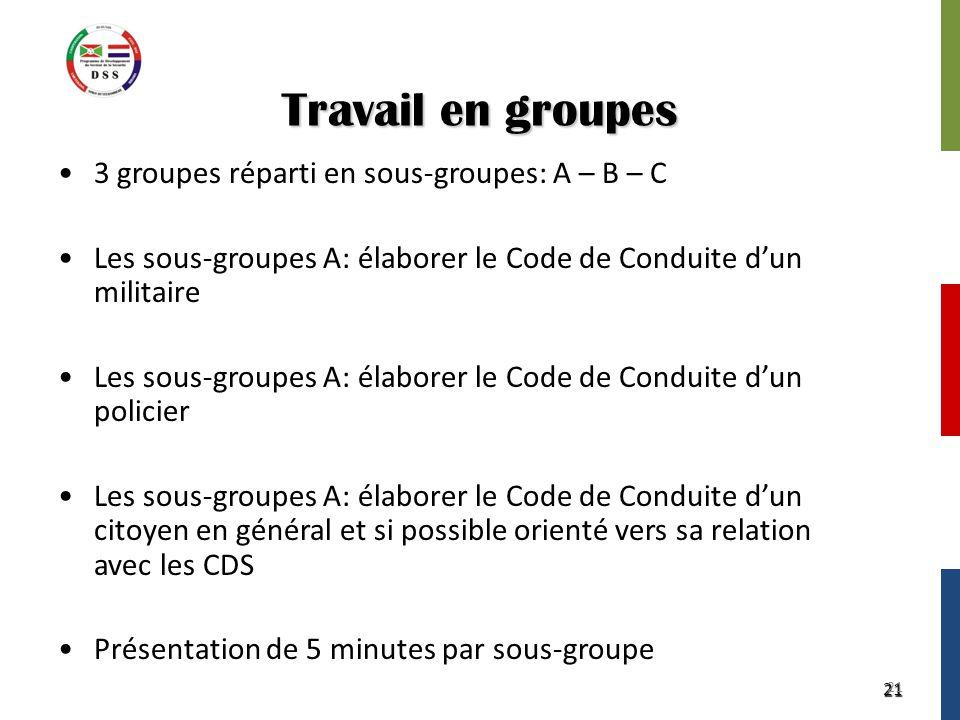 21 Travail en groupes 3 groupes réparti en sous-groupes: A – B – C Les sous-groupes A: élaborer le Code de Conduite d'un militaire Les sous-groupes A:
