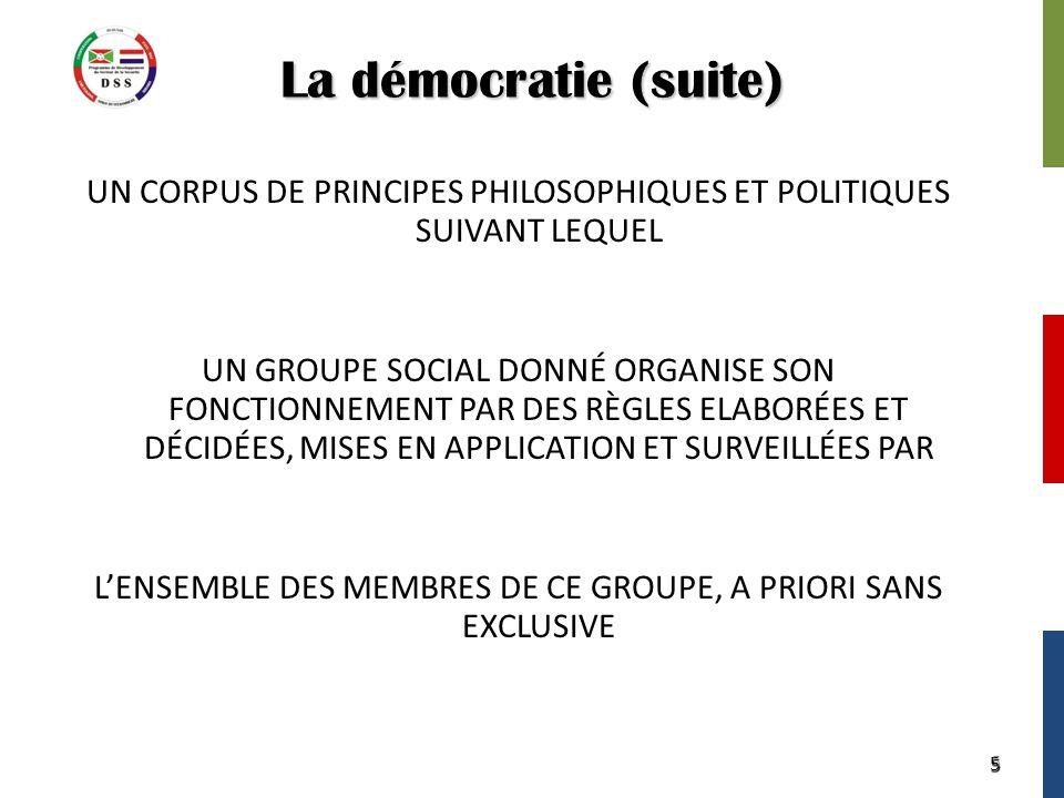 5 La démocratie (suite) UN CORPUS DE PRINCIPES PHILOSOPHIQUES ET POLITIQUES SUIVANT LEQUEL UN GROUPE SOCIAL DONNÉ ORGANISE SON FONCTIONNEMENT PAR DES RÈGLES ELABORÉES ET DÉCIDÉES, MISES EN APPLICATION ET SURVEILLÉES PAR L'ENSEMBLE DES MEMBRES DE CE GROUPE, A PRIORI SANS EXCLUSIVE 5