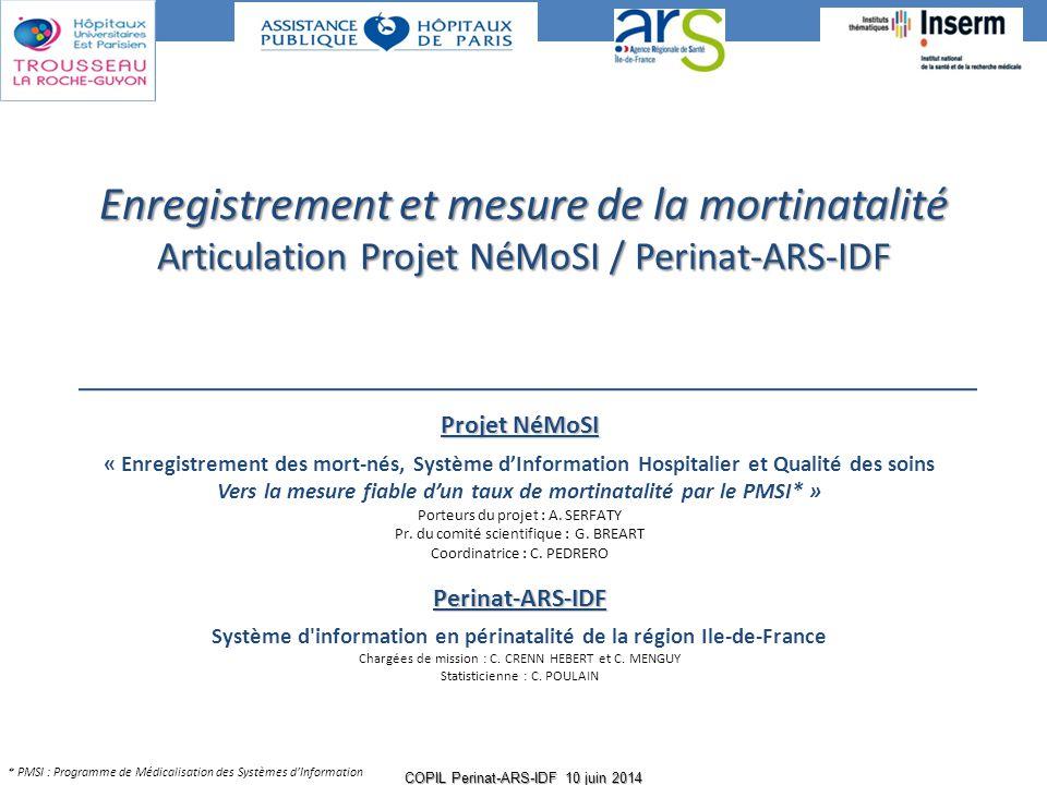 Projet NéMoSI « Enregistrement des mort-nés, Système d'Information Hospitalier et Qualité des soins Vers la mesure fiable d'un taux de mortinatalité p