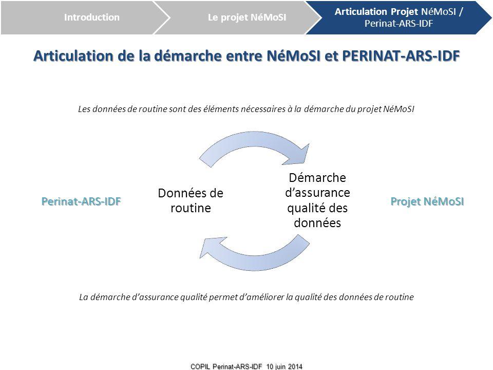 6 COPIL Perinat-ARS-IDF 10 juin 2014 Articulation de la démarche entre NéMoSI et PERINAT-ARS-IDF Perinat-ARS-IDF Projet NéMoSI Démarche d'assurance qu